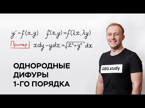 Однородные дифференциальные уравнения 1 порядка