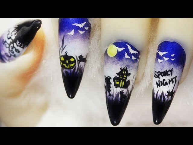 How To Create Going Trick Or Treat On Spooky Halloween Night Stamping Nail Art Design 2020