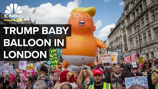 Trump Baby Balloon Steals Spotlight During London Protests | CNBC