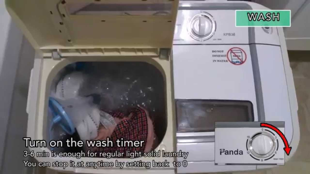 Superb Panda Compact Portable Washing Machine Demo   YouTube