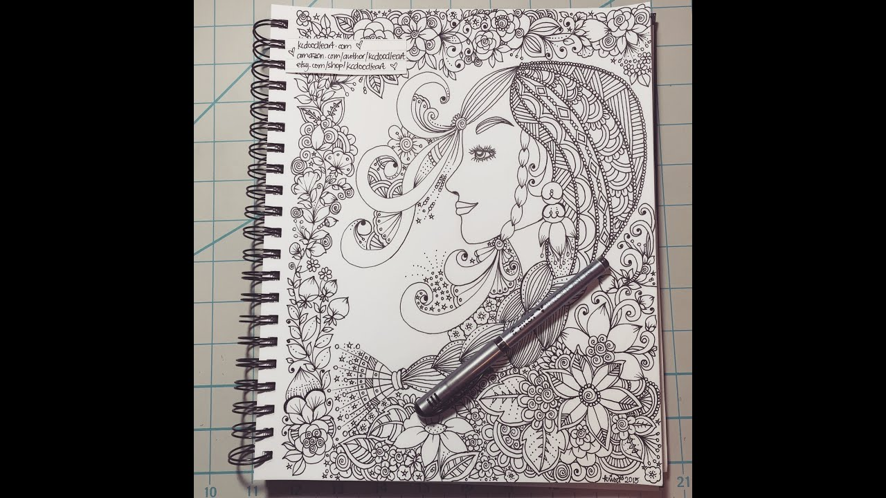 speed doodling woman zentangle