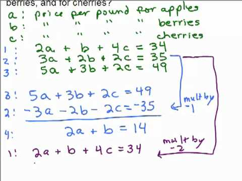 System of 3 equations word problem 1