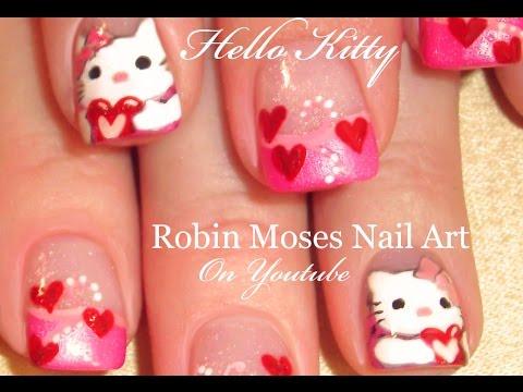 valentine's day kitty nail