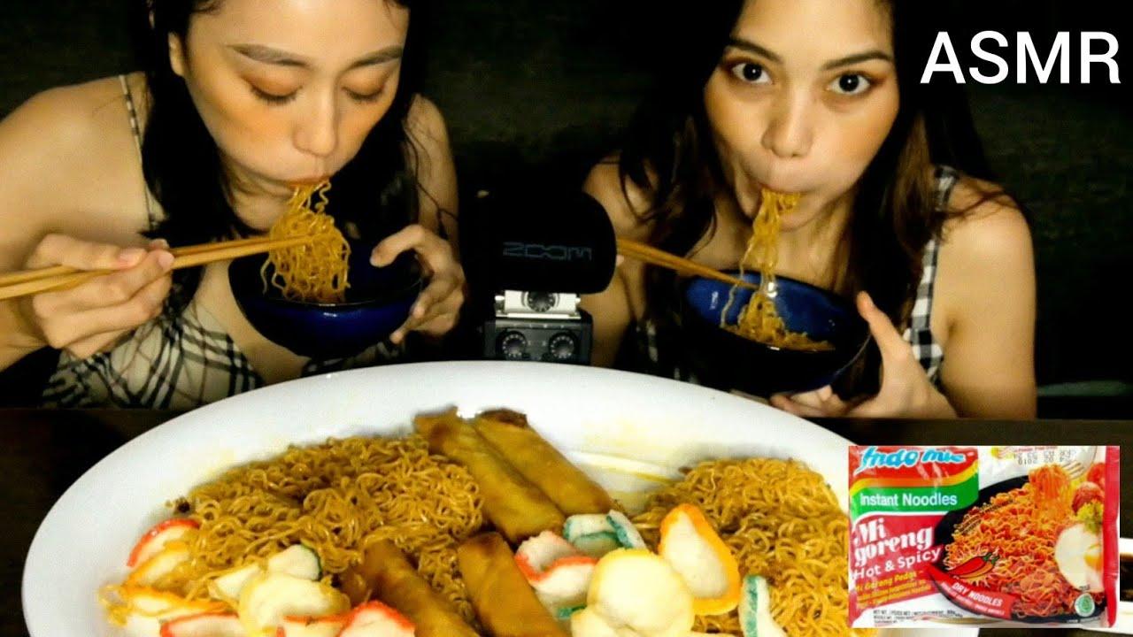 ASMR Indomie Mi Goreng + Spring Roll Mukbang   No Talking ( Eating Sounds)   Pinoy Mukbang ASMR