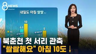 [날씨] 북춘천 첫 서리 관측…'아침 10도↓' 쌀쌀해요 / SBS