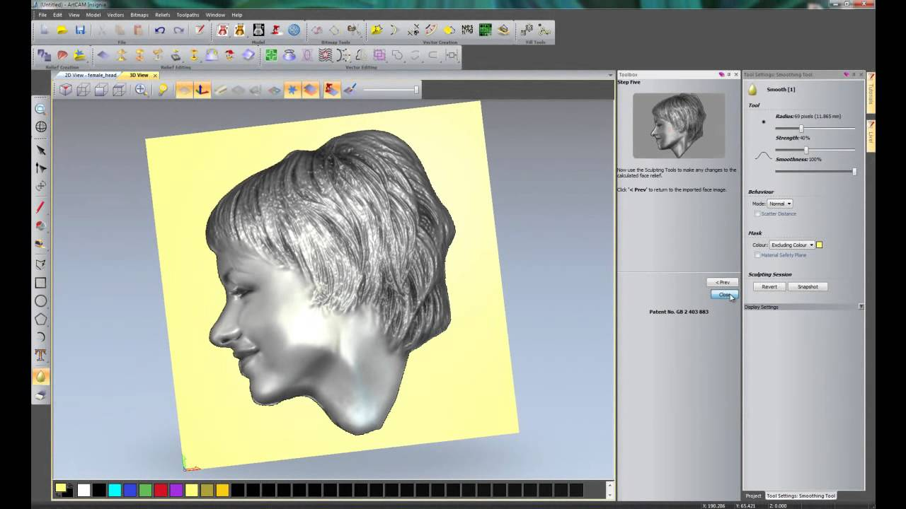 Creating a 3d relief from a photo using the face wizard for 3d editor online