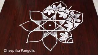 Easy star rangoli design for beginners l star muggulu designs l latest kolams