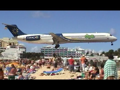 Amazing Plane landing and take-off footage at Maho Beach St Maarten