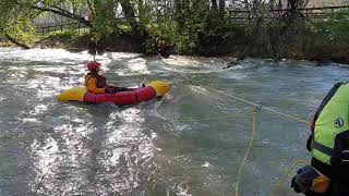 zip line using  packraft