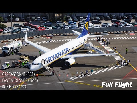 Ryanair Full Flight | Carcassonne to East Midlands | Boeing 737-800 (with ATC)