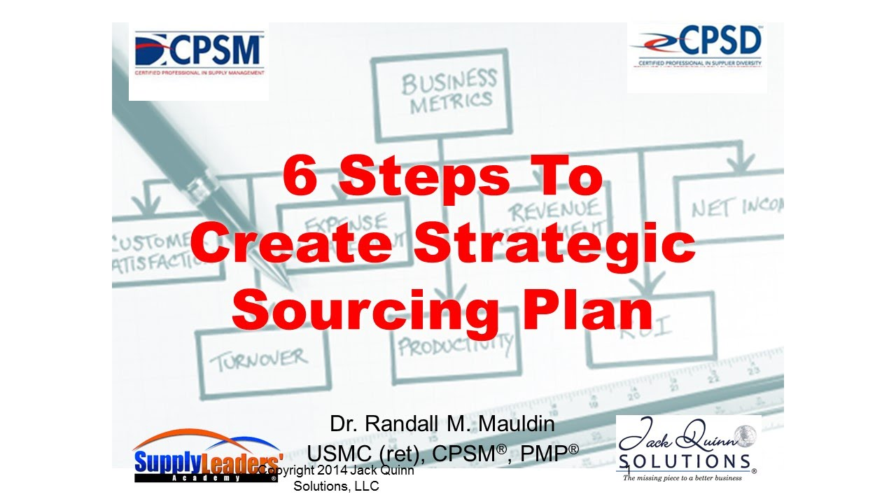Six steps to create strategic sourcing plan youtube for Procurement category strategy template