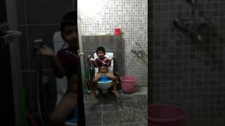 My kid enjoying his time in potty
