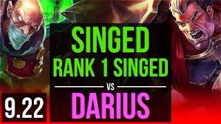 SINGED vs DARIUS (TOP) | Rank 1 Singed, 3.1M mastery points, KDA 12/4/13 | BR Grandmaster | v9.22