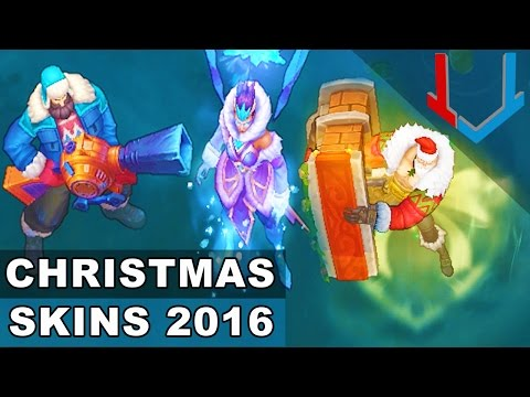 All Christmas Skins 2016: Santa Braum, Snow Day Graves, Winter Wonder Karma (League of Legends)