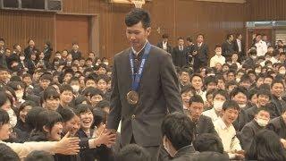「本当にうれしい」と平岡選手 銅メダルを同級生らに報告 平岡卓 検索動画 10