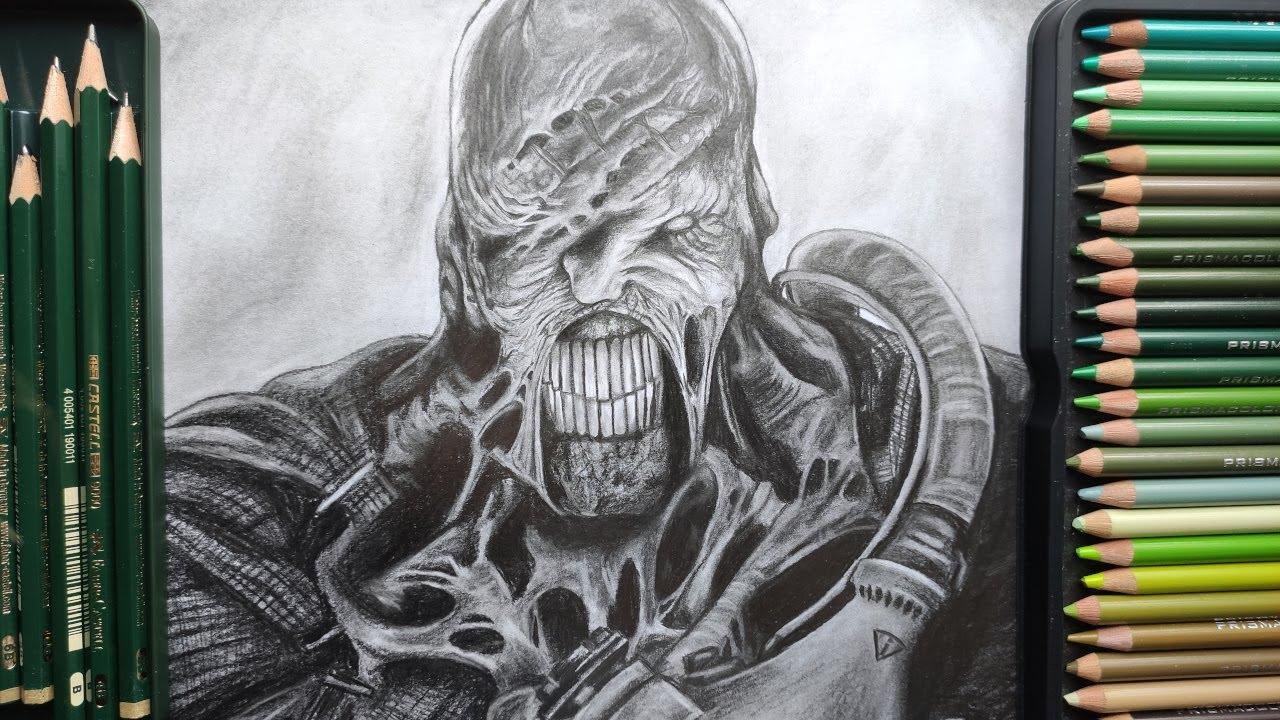 Resident Evil 3 Remake Nemesis Drawing Youtube