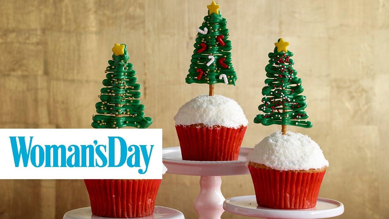 Chocolate Pretzel Christmas Tree Cupcakes | Woman\'s Day - YouTube