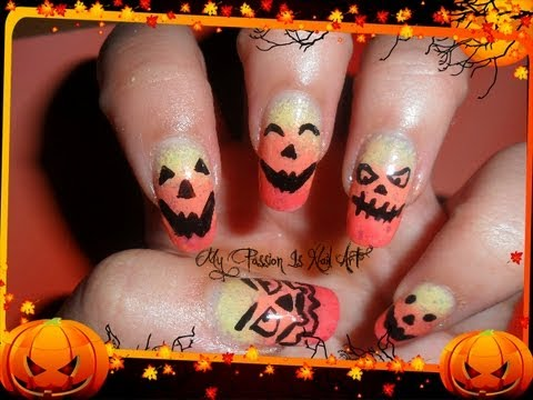 Cute Halloween Pumpkins nails- tutorial nail art zucche ...