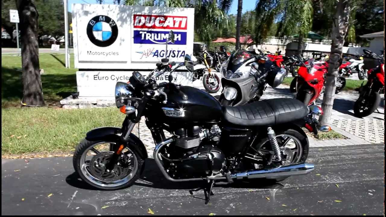 2013 Triumph Bonneville in Black at Euro Cycles of Tampa Bay - YouTube