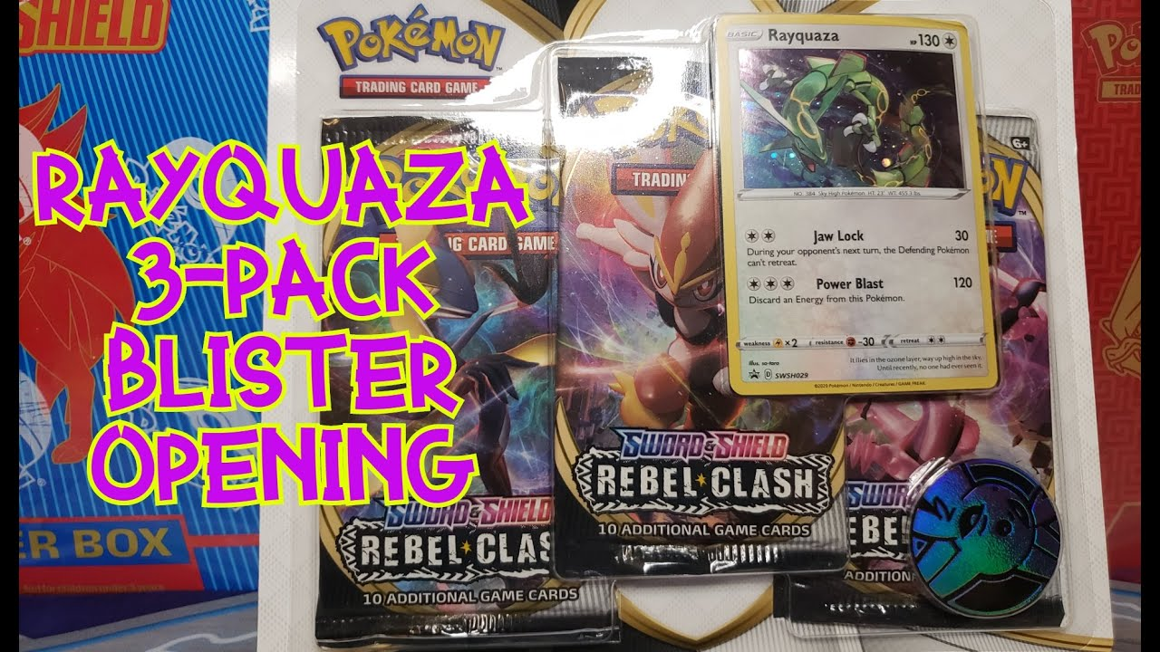 Pokemon TCG Sword and Shield Rebel Clash Blister Booster 3x Pack Rayquaza NEW