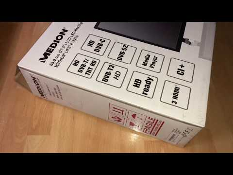 Medion Life P15236 MD 21444 27.5 Inches HD) TV Triple Tuner DVB-T2 HD LCD TV unboxing and assembling