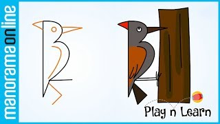 Woodpecker with 12 | Easy Drawing Tips for Kids | Manorama Online