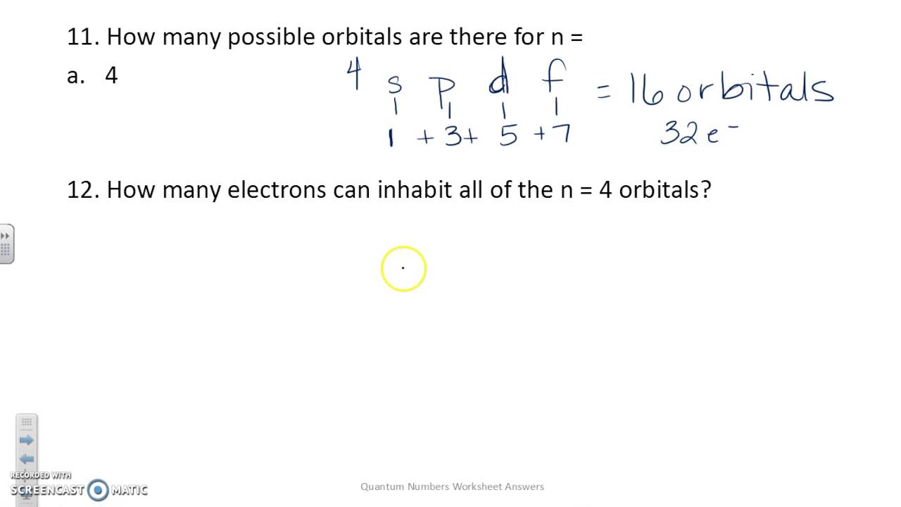 Quantum numbers worksheet answers - YouTube