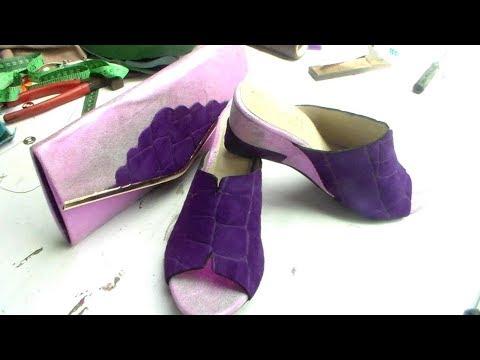 how to make  mule wedge shoe.