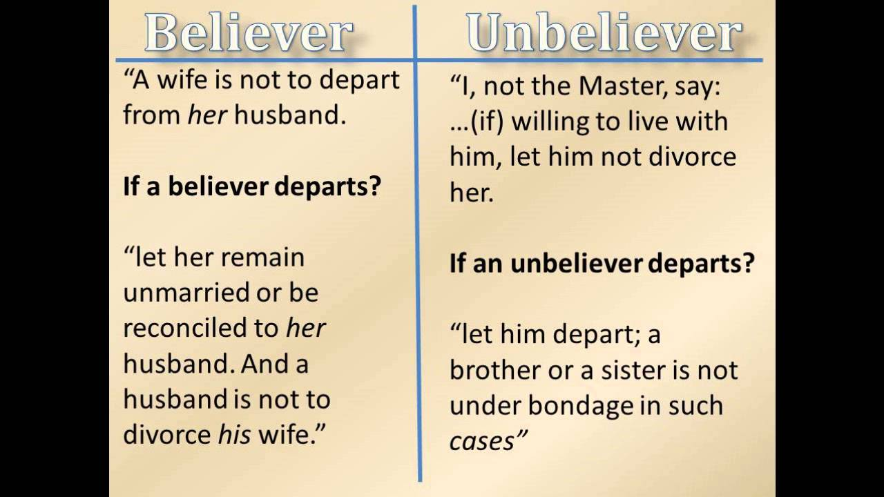 believers dating unbelievers God meant for relationships to be a beautiful reflection of christ's love for the church in order to aspire toward this radical kind of love, god implemented some boundaries for believers on the dating scene one of god's specifics in the world of dating is: avoid engaging in romantic relationships with unbelievers.