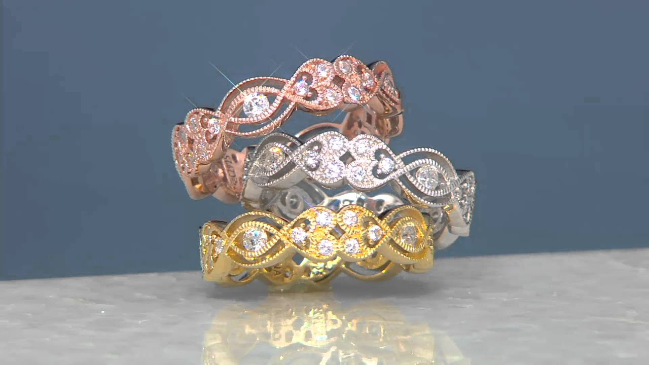 Diamonique Heart Eternity Band Ring Sterling or 14K Clad on QVC