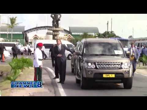 Prince Harry Lays Floral Tribute At Guyana's Independence Arch