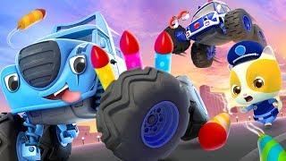 Police Car & Kitten Policeman | Monster Truck , Fire Truck | Cars for Kids | Kids Songs | BabyBus