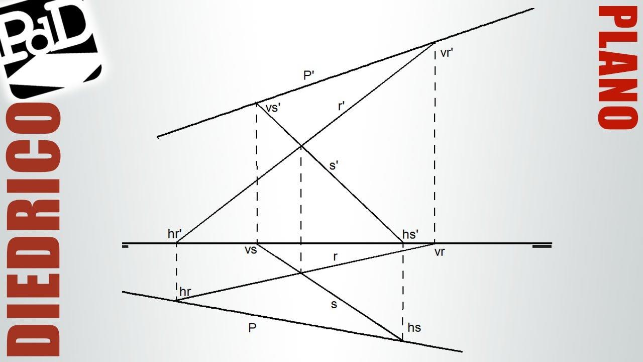 Plano definido por dos rectas que se cortan (Sistema diédrico)