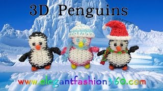 Rainbow Loom Penguin 3d Charms - How To Loom Bands Tutorial Christmas/holiday/winter/animal
