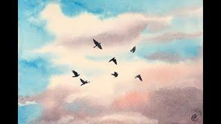 Beginners Watercolors Easy Sky Painting Tutorial