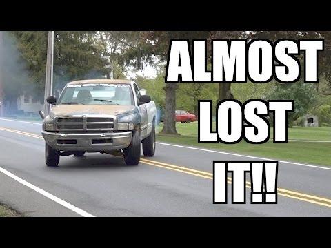 CUMMINS 12V BURNOUT!!! SENDIT SCRAP TRUCK ALMOST LOSES IT!!!