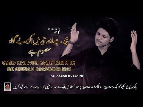 Noha - Qaid Hai Aur Qaid Mein Ik Be Gunah Masoom Hai - Ali Akbar Hussaini - 2018 | Noha Bibi Sakina