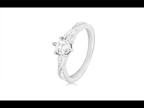 8351359fe Šperky - Zásnubný prsteň zo striebra 925 - okrúhly zirkón, zvlnené lesklé  línie, zirkóniky. Šperky eshop