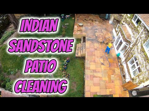 Pressure Washer Patio Cleaning Indian Sandstone Part 1
