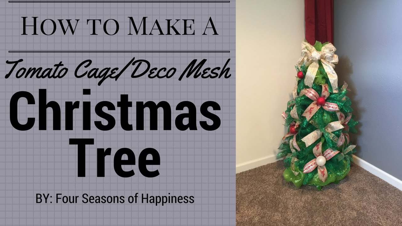 How to make a deco mesh Christmas tree with tomato cage - YouTube