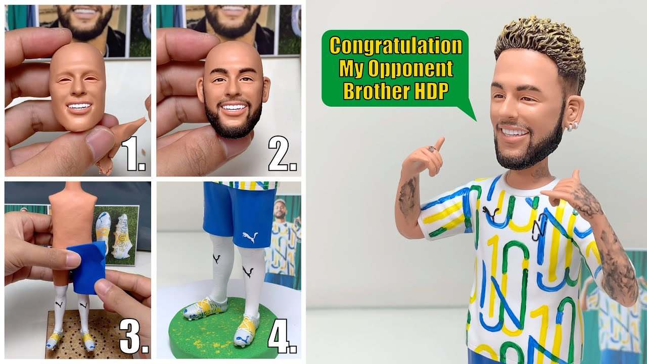 Neymar Jr. made from polymer clay 2.0, more refined details added【Clay Artisan JAY】
