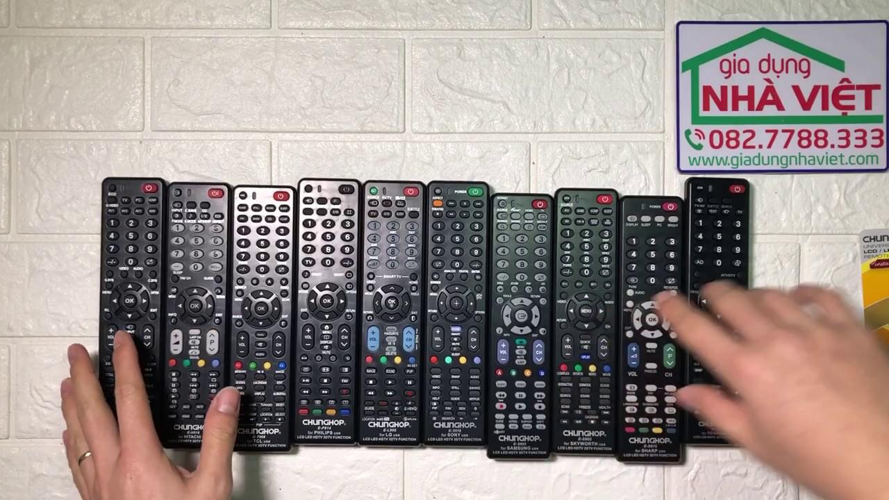 Các loại điều khiển đa năng Chunghop theo từng hãng TV