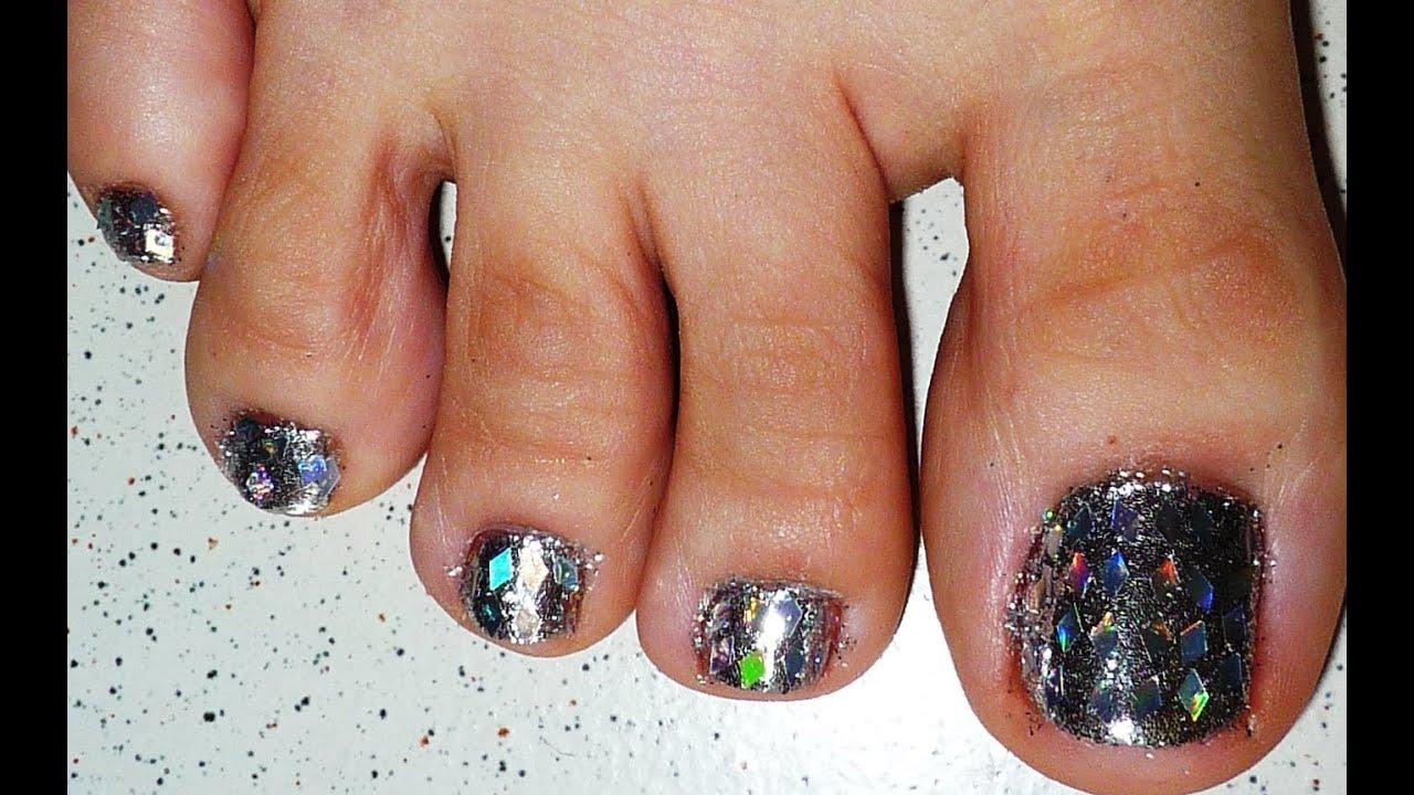 Diamond Glitter And Silver Toe Nail Design Youtube