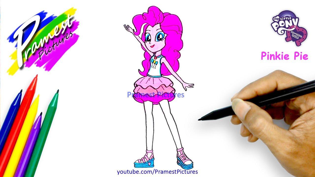 Pinkie Pie Menggambar Dan Mewarnai Gambar Kuda Poni Equestria Girls Youtube