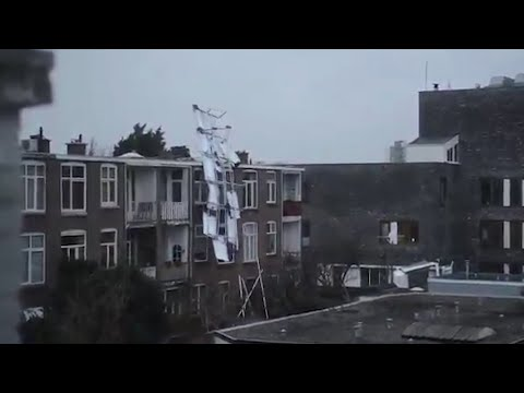 Solar panels blown off Netherlands apartment building