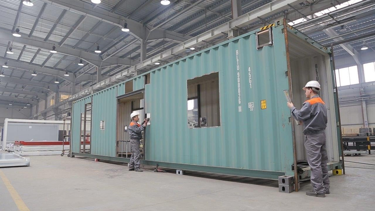 Container haus - wohnqualität, Bürocontainer, Modulhaus, Modulbau, Produktion container häus - YouTube