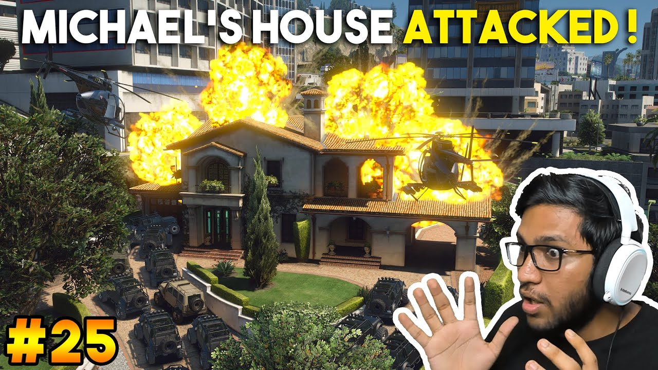 MICHAEL'S HOUSE ATTACKED BY MERRYWEATHER ARMY ! (GTA 5 Ultra Real Graphics Mod in Hindi #25)