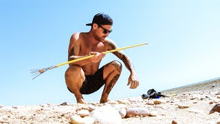 NO FOOD AND ONLY A HAND SPEAR CHALLENGE My Biggest Beach Clean Up Ever - Ep 156