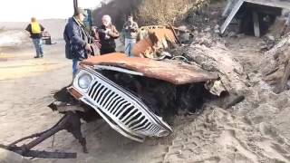 Jeep buried in dune for 40 years at Ballston Beach in Truro removed