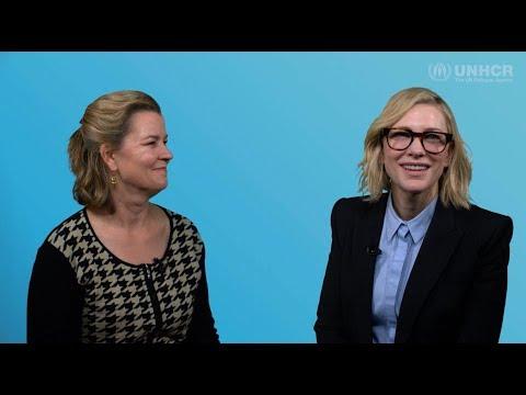 UNHCR Goodwill Ambassador Cate Blanchett interviews Kelly Clements, UNHCR's highest ranking woman.
